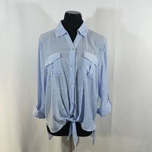 Chico's Blue Striped Knot Front Blouse